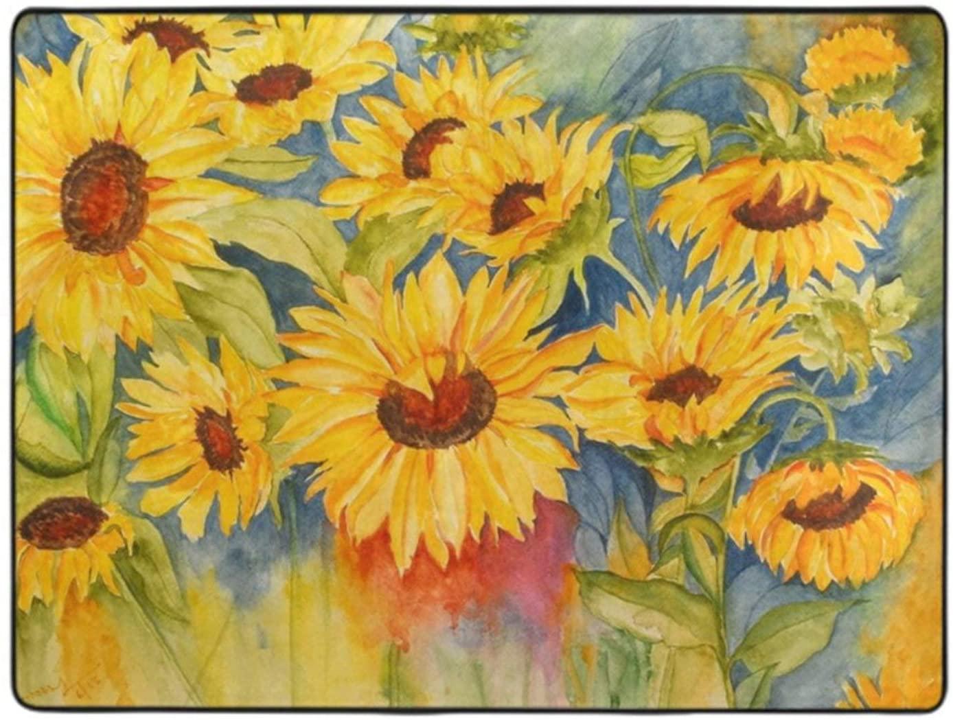 Floor Carpet Beautiful Sunrise Sunflower Natural Art Rug Premium 60x48 Floor Decoration for Home Bedroom Living Dining Room