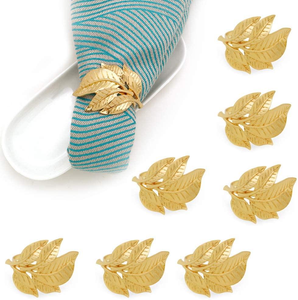 SHEbaking Gold Napkin Rings Set of 8, Fall Leaf Metal Napkin Ring Holder for Dinner Table Decor, Vintage Wedding Party Favor