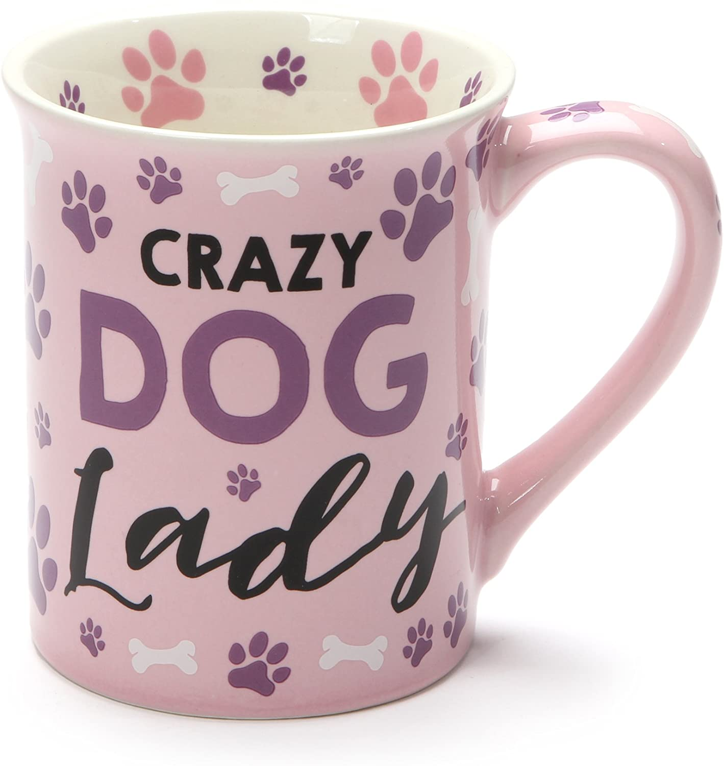 Crazy Dog Lady Purple Paw Prints 16 Ounce Ceramic Coffee Mug