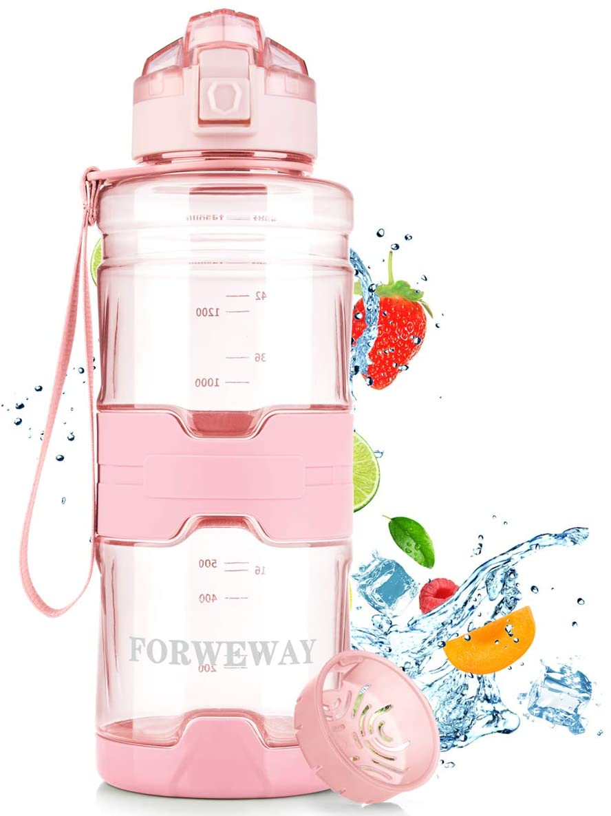 FORWEWAY Sports Water Bottle with Filter Water Bottles 50 OZ/1.5 Liters Water Jugs BPA-Free Reusable Water Bottle Leakproof Bike Water Bottles with Strap for Outdoor Workout, Hiking, Traveling, Cycling