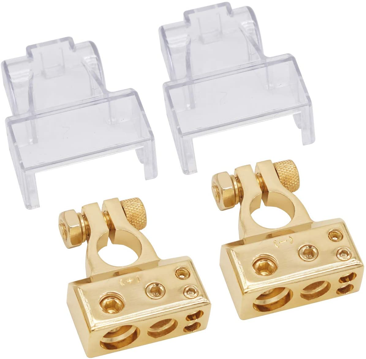 LEIGESAUDIO 0/2/4/8/10 AWG Gauge Positive & Negative Battery Terminal Clamp-Glod(Pair) (with Cover)