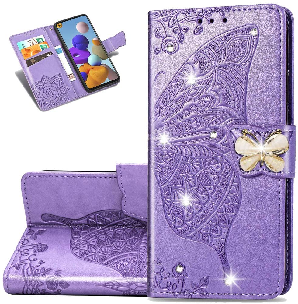 Asdsinfor Galaxy S20 Plus Case Stylish Diamond Wallet Case Credit Cards Slot with Stand for PU Leather Shockproof Flip Magnetic Case for Samsung Galaxy S20 Plus Glitter Butterfly Light Purple SD