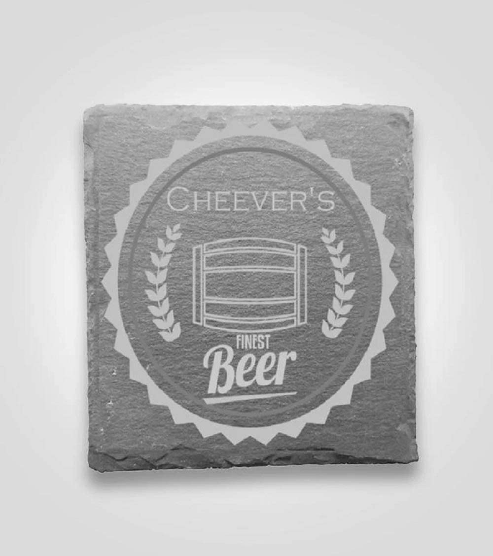 Home Slate Coasters | Coasters Cheever's Beer Logo | Custom Engraved with Logo or Text | Unmatched Furniture Protection | Set of 4 Unique 4