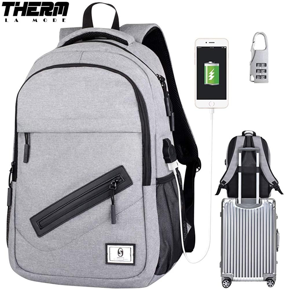 Laptop Backpack, Skateboard Backpack Rucksack with USB Charging Port & Lock