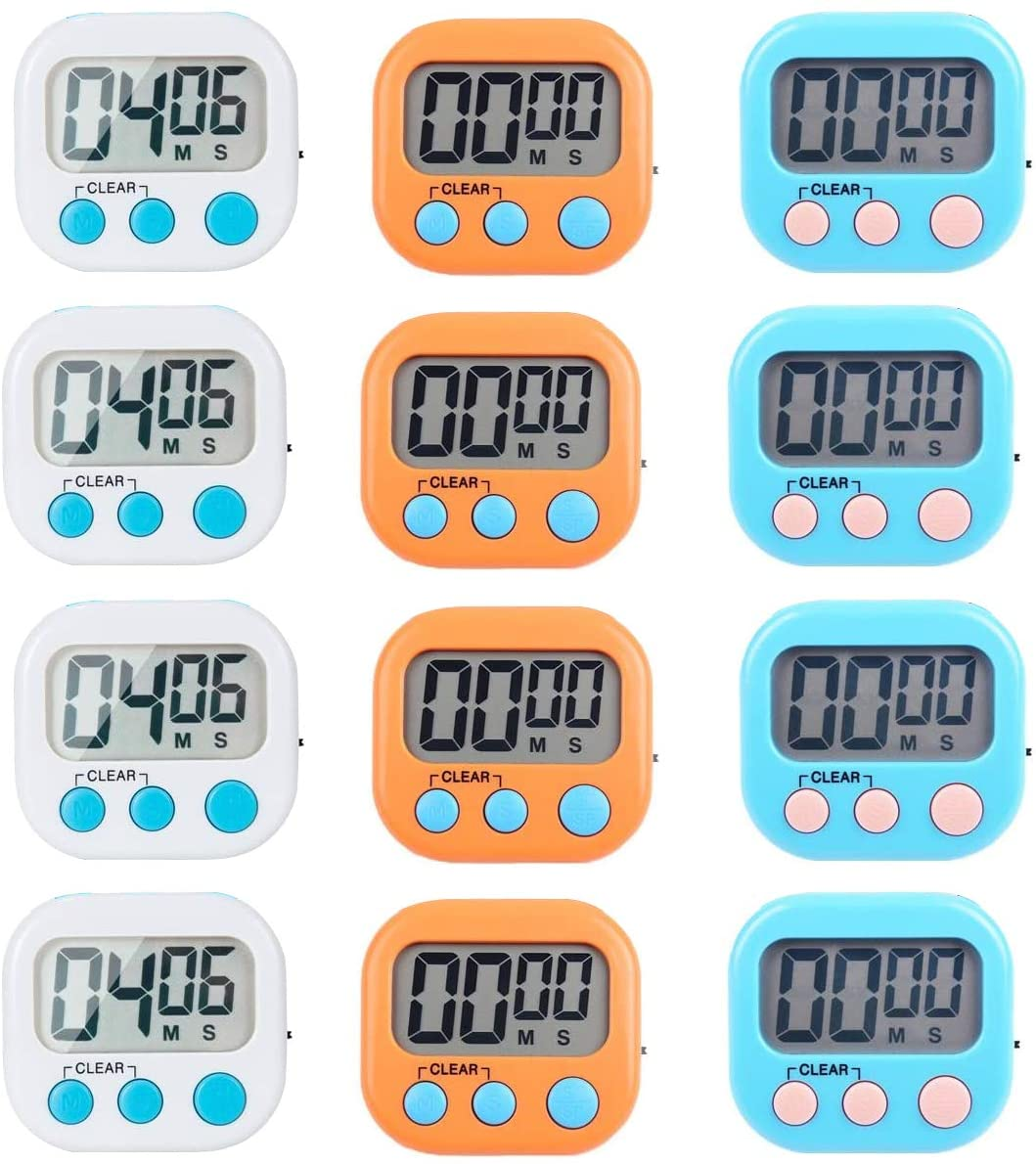 Kitchen Timer Magnetic Cooking Timer with ON/OFF Switch Alarm Sound Support Count Up Countdown 12pcs