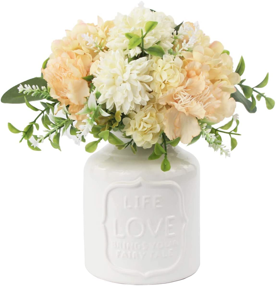 Z-YAO Artificial Flowers in Vase Fake Peach Flowers Bouquet with Ceramic Vase for Bathroom Counter Coffee Table Dining Table Wedding Centerpiece