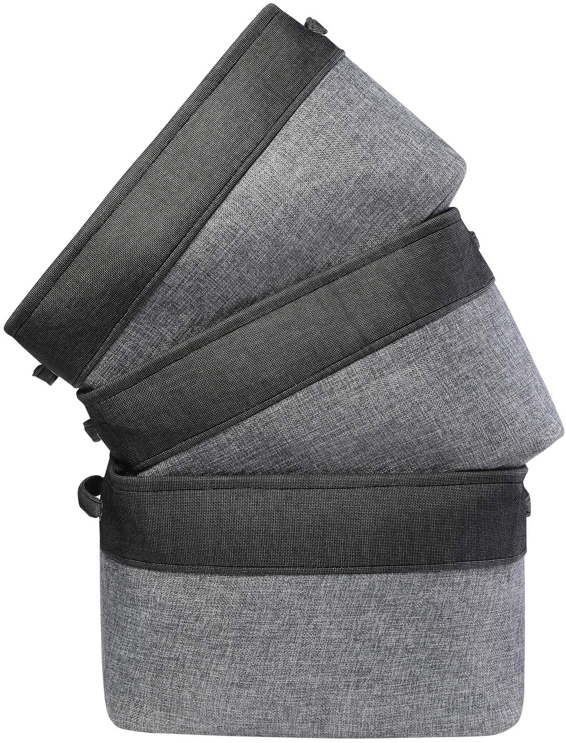 3 Pack Large Foldable Storage Bins Shelf Basket 15 x 11 x 9.8 in Rectangular Linens Fabric Collapsible Organizer Bin Laundry Hampers Baskets for Baby, Nursery, Toys, Home Closet, Laundry (Black)