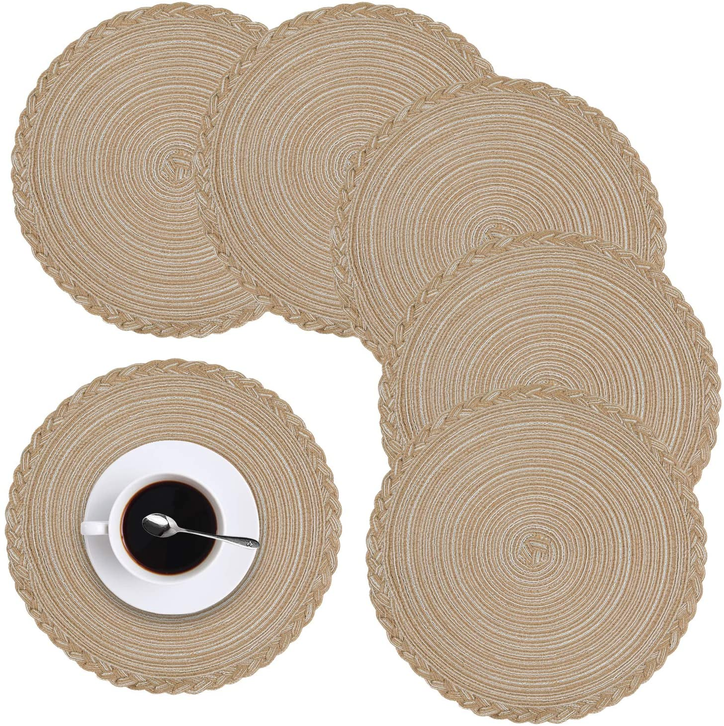 homing Placemats for Dining Table Set of 6 - Braided Round Heat-Resistant Cotton 14