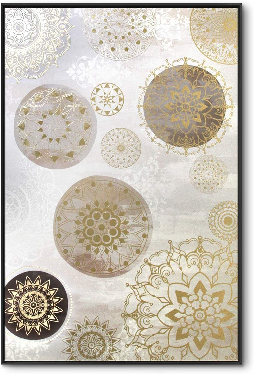lamplig Mandala Wall Art Gray Gold Large Boho Wall Decor Hand Painted Oil Paintings Framed Bohemian Canvas Prints Indian Flowers Pictures Floral Artwork for Living Dining Room Bedroom Office 48x32