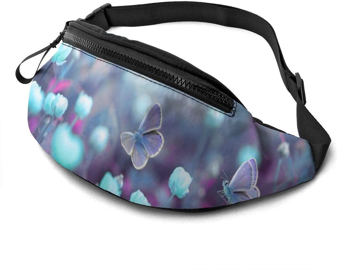 Dujiea Fanny Pack, Wild Light Blue Flowers Waist Bag with Headphone Hole Belt Bag Adjustable Sling Pocket Fashion Hip Bum Bag for Women Men Kids Outdoors Casual Travelling Hiking Cycling