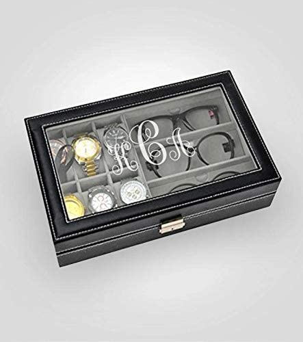 Kustom Products Inc Sunglass Watch Collection Box | PU Leather Case with Glass Lid | 6 Piece Watch with 3 Piece Eyeglasses Storage | Sunglasses & Watch Case Organizer | Black