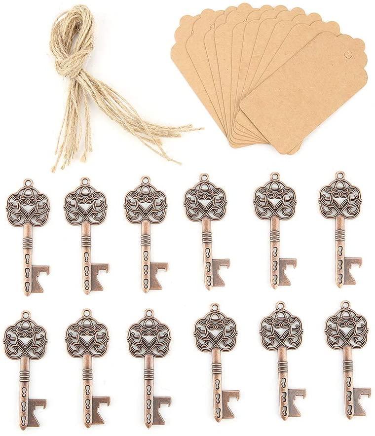 Key Bottle Openers 12Pcs Vintage Skeleton Key Opener Antique Decoration with Escort Tag Card