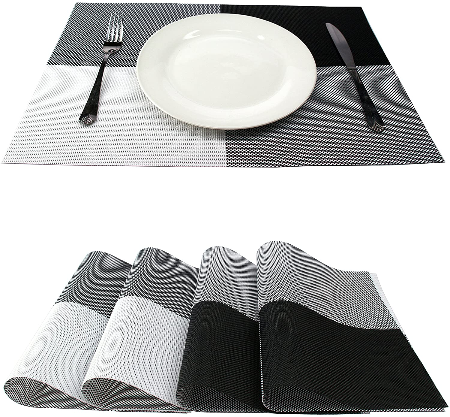 GEFEII PVC Woven Vinyl Non-Slip Heat-Resistant Grid Black and White Placemats Kitchen Dining Party Environmental Table Mats Place Mats Pad Cushion (Black, 4)