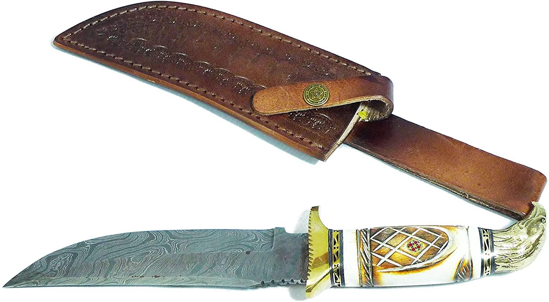 Lexon Handmade Damascus Steel Mini Hunting Knife Eagle Head Horn Handle with Real Leather Sheath