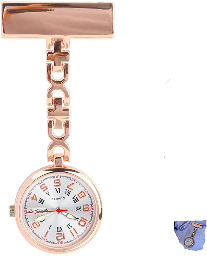 WIOR Nurse Lapel Pin Watch Date and Week Design Hanging Medical Doctor Pocket Watch Quartz Movement Nurses Watch for Women Girls