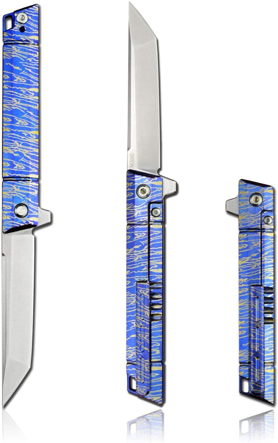 FENGZHU-M390 Folding Knife Powder Steel Folding Knife Mini Knife Tanto Point Tip with 3.9in Titanium Alloy Handle Portable Bearing Knife Outdoor EDC Tool