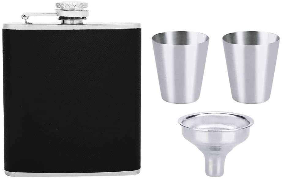 Stainless Steel Flask & Funnel Set, Leather Portable Hip Flask with Two Wine Cups Set for Wine Flask Gift Women Girls Men Birthday Gift(6oz)