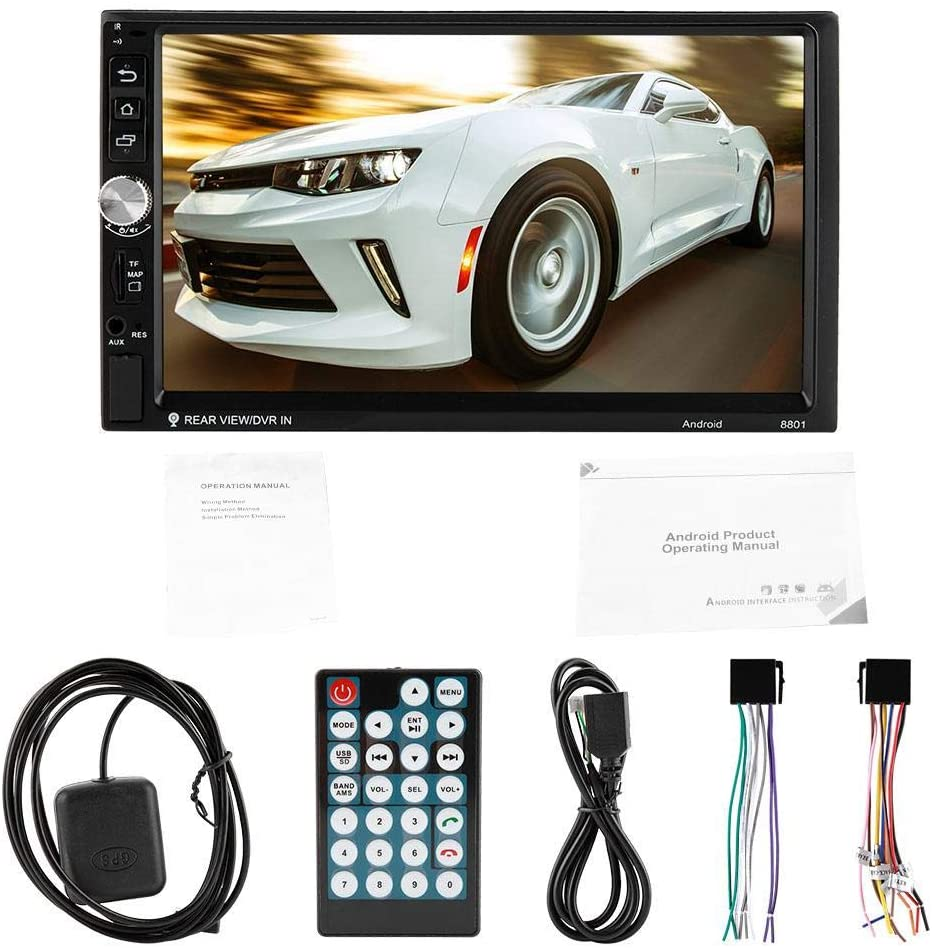 sjlerst 7-Inch Large Screen Navigator, Car Navigator, Double Spindle 16G Storage Capacity Support Reversing Images (with Camera), for 7.1