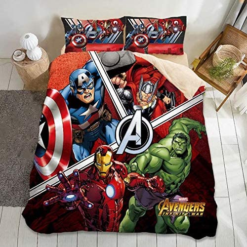 Marvel Avengers Duvet Cover Set Queen Size-3 Piece 3D Printed Super Hero Bedding Set for Kids Boys,Microfiber Softer and Easy Care Comforter Cover Include 1 Duvet Cover and 3 Pillowcases