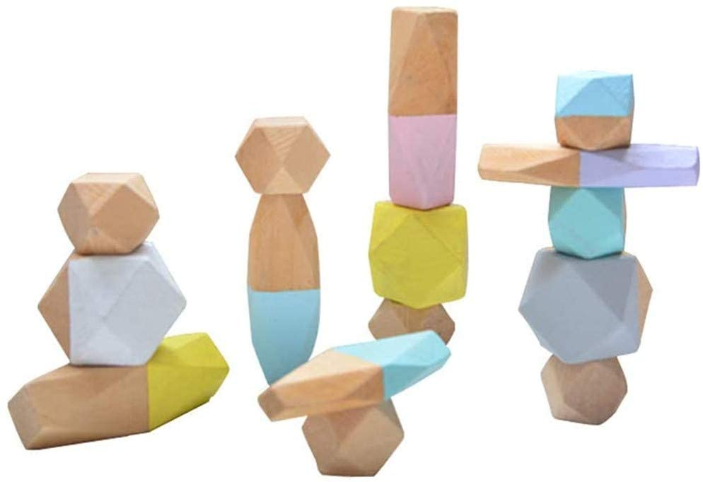 Abendedian Balancing Building Wooden Blocks Stacking Stones Sets Lightweight Pine Wood Girl Boy Colorful Shape Puzzle Educational Toy (15pcs, Mixed Colors)