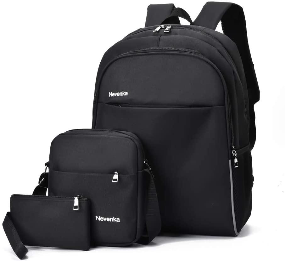 Nevenka Unisex-Adults Travel Laptop Backpack with USB Charging Port - Black