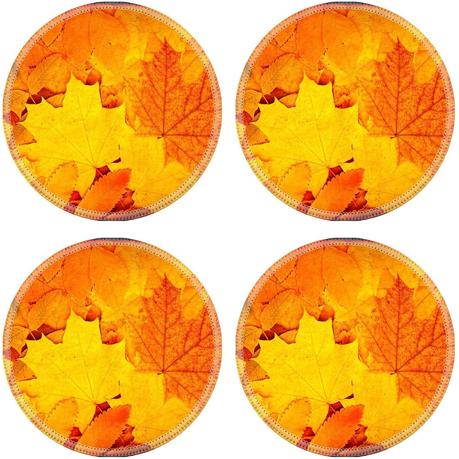 MSD Natural Round Drink Coaster set of 4 Image ID: 31675492 Grunge background with autumn leaves