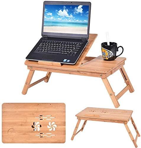 Safstar Portable Laptop Desk Folding Design Breakfast Serving Bed Tray with Adjustable Tilting Top Drawer (Bamboo)