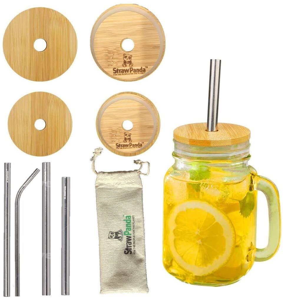 StrawPanda Bamboo Mason Jar Lids with Straws Zero Waste Product (4, Wide Mouthed Bamboo Mason Jar Lids with Metal Straws)