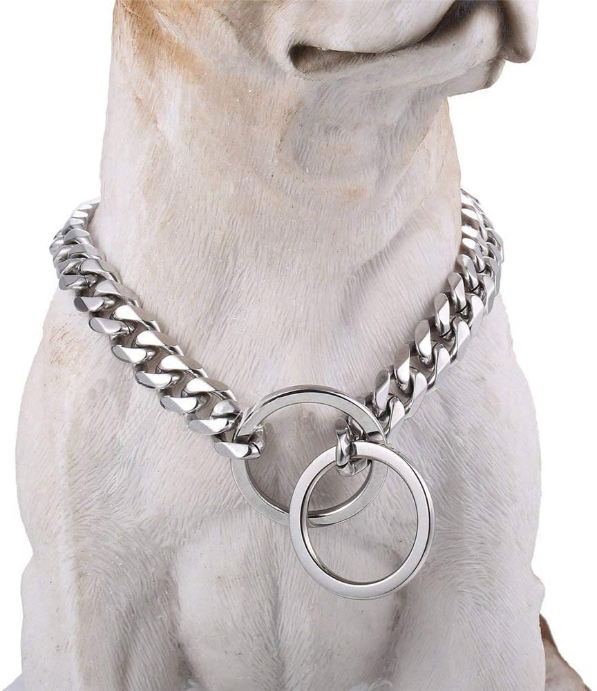 Loveshine Chain Dog Collar High Polished Silver Cuban Link Dog Chain 15MM Thick Choke Collar Metal Stainless Steel Heavy Duty Slip Dog Collars for Small, Medium, and Large Dogs(16in to 26in)