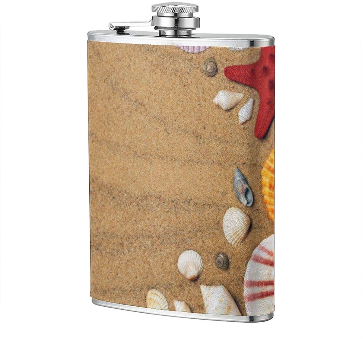 Red Starfish Shell Portable 8 Oz Stainless Steel Leak-Proof Hip Flask For Whiskey With Leather Wrap Travel Camping Wine Pot Flagon For Men Women
