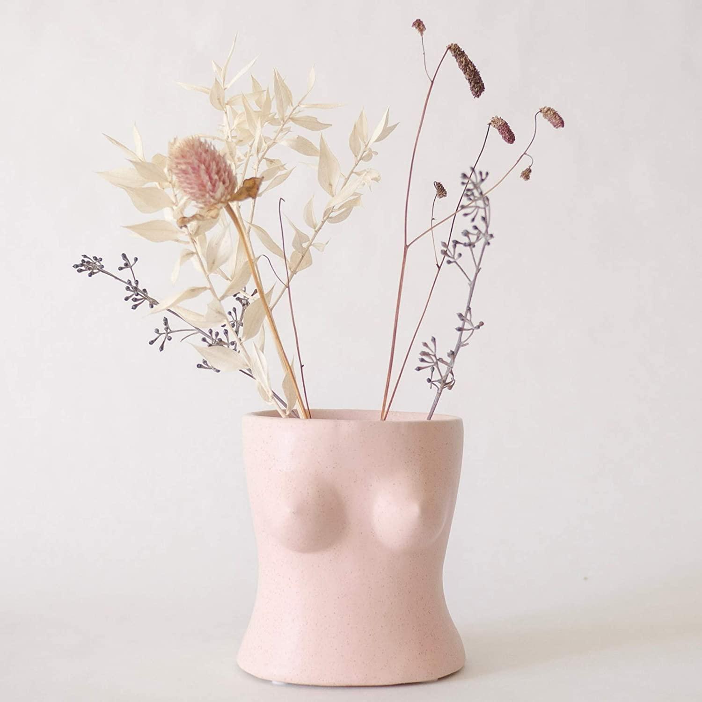 QiSa Vases for Decor, Body Flower Vase, Modern Boho Chic Home Decor, Ceramic, Small Accent Piece for Living Room, Indoor Plant, Shelf, Dressing Table, Office