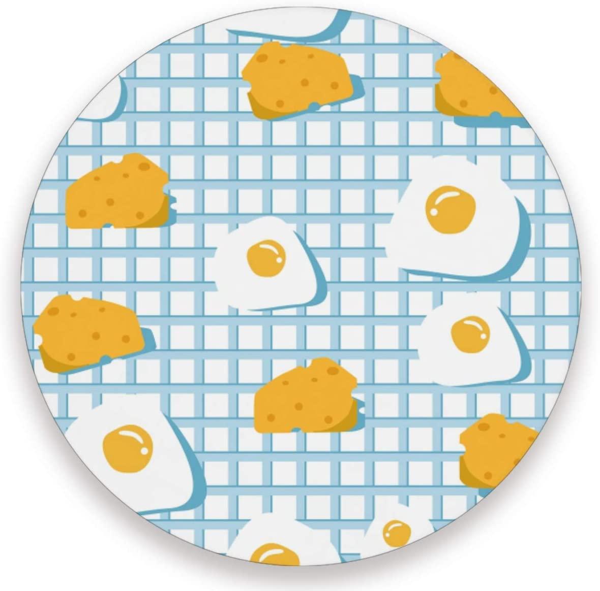 Olinyou Fried Eggs Gudetama Candy Yolk White Blue Plaid Coasters for Drinks Set of 4 Absorbent Ceramic Stone Round Coaster with Cork Base