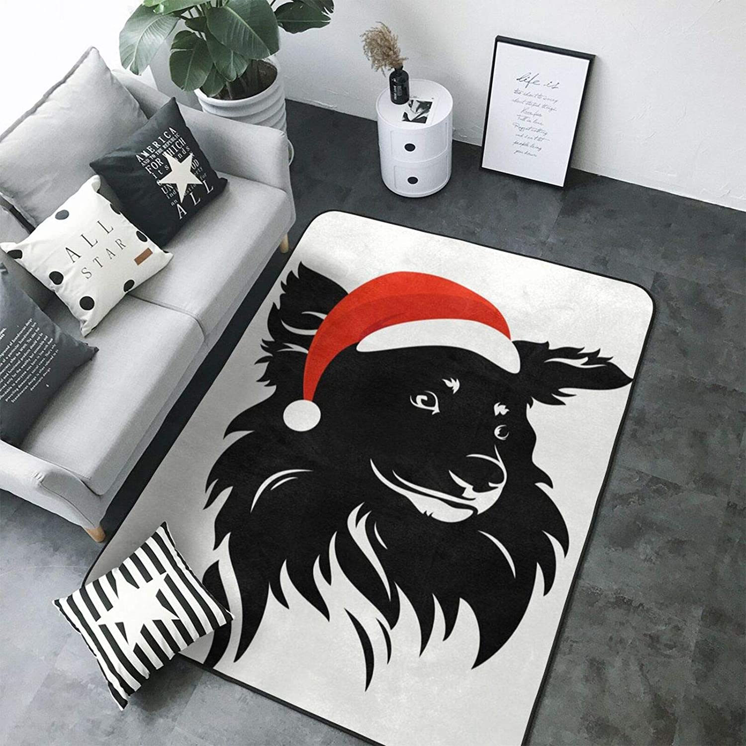Merry Christmas Black Dog with Red Hat Area Rugs Floor Carpet Washable Farmhouse Front Porch Living Room Laundry Room Bedroom 60X39 inch
