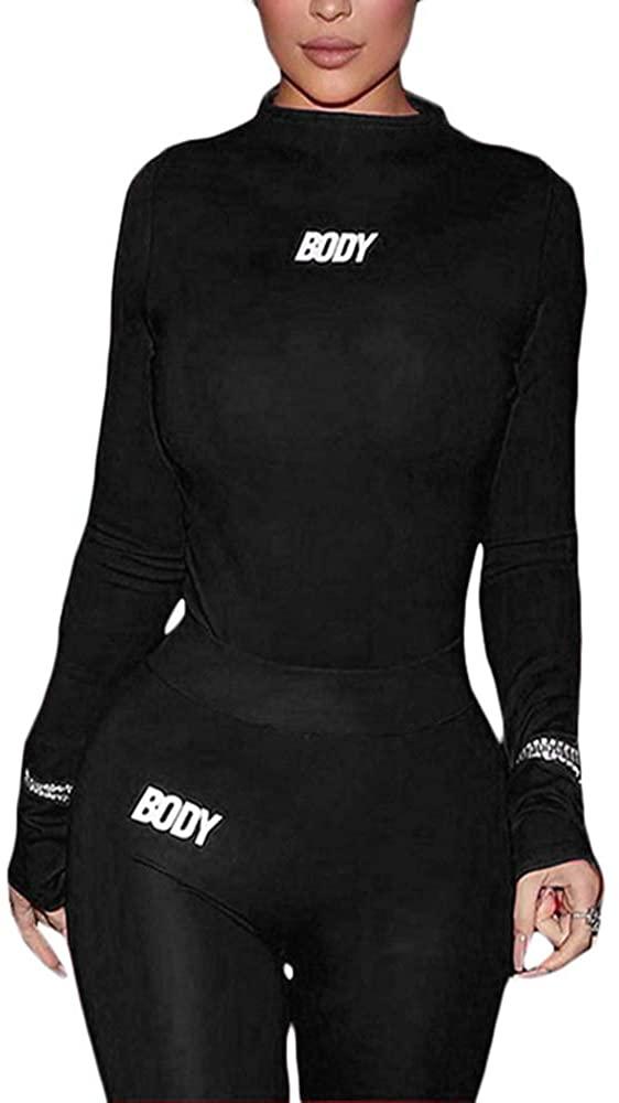 LuFeng Women's Sexy 2 Piece Outfits Long Sleeve Bodysuit Tops Long Pants Set Club Jumpsuits