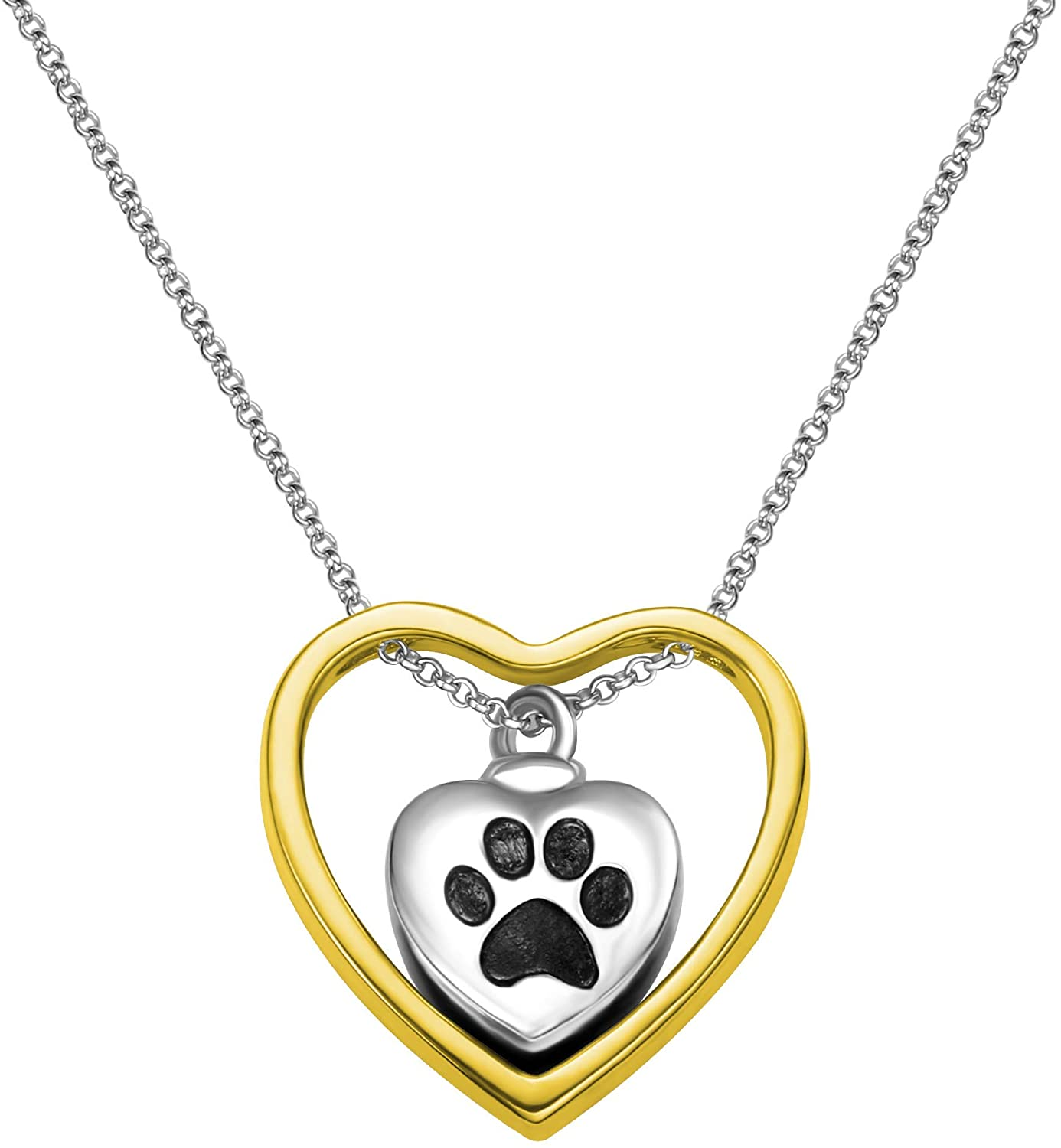 AILIN Personalized Dog Pet Paw Print-Cremation Jewelry Keepsake Memorial Charm Love You Forever Urn Necklace for Ashes
