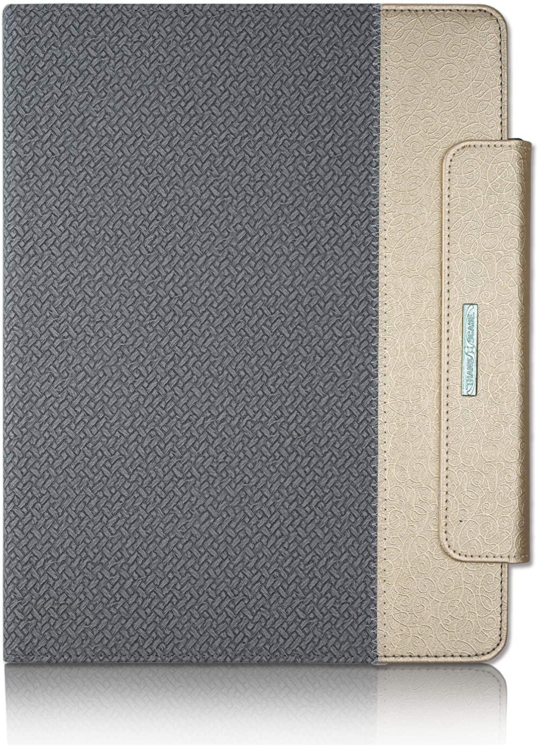 Thankscase Case for iPad Pro 12.9 2020, Rotating TPU Smart Cover with Pencil Holder [Support Pencil Charging], Wallet Pocket, Hand Strap for iPad Pro 12.9 4th Gen/ 3rd Gen (Grey Gold)
