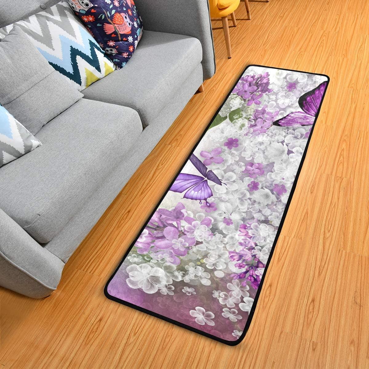 Butterflies Flowers Purple Kitchen Rugs Non-Slip Soft Doormats Bath Carpet Floor Runner Area Rugs for Home Dining Living Room Bedroom 72
