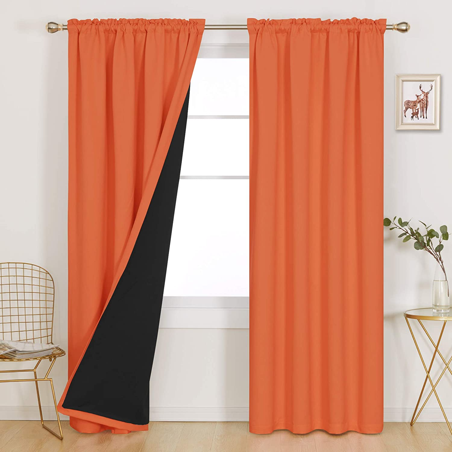 Deconovo Thermal Insulated Total Blackout Curtains Double Layer Backing 100% Full Light Noise Blocking Rod Pocket Window Drapery for Bedroom Living Room, 1 Pair, 52x95 in Each Panel, Orange