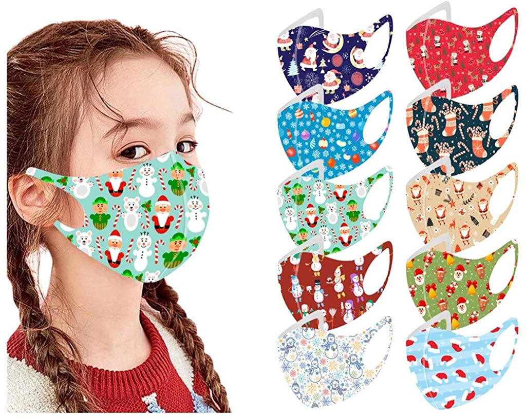 10/12 PCS Kids Reusable Washable Face Covering with Ear Straps Cotton Fabric Face Health Protections Fits Toddlers to Teens