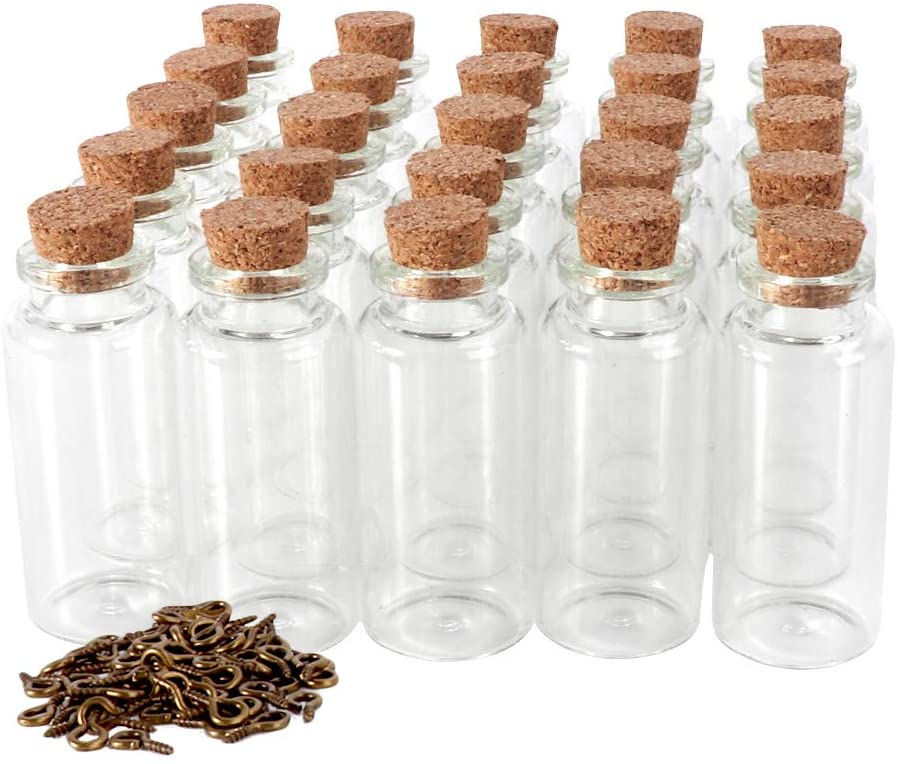 Cyclemore 25pack 20ml Cork Stopper Glass Bottles, Mini Vials Cork Wish Bottles with Eye Screws for DIY Arts Crafts Decoration, Weddings Favors, Wish Jewelry Party Favors, Storage Accessories