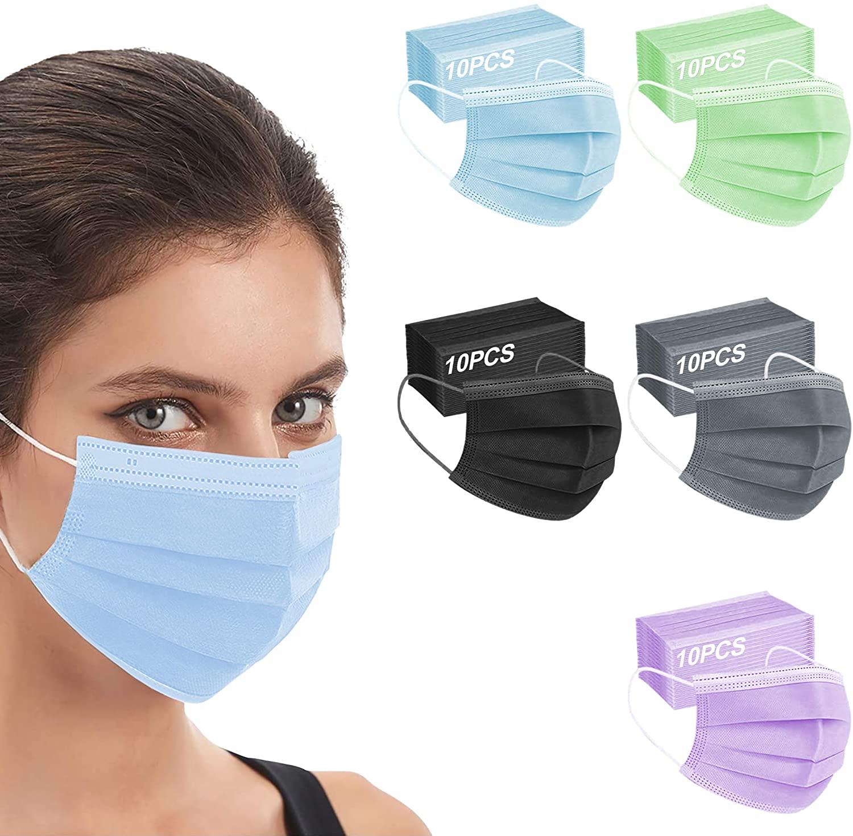 Fashion Fabric Face Protection, Disposable Unisex Earloop Bandana Balaclava Dust Mask (50 Multicolored Ⅳ)