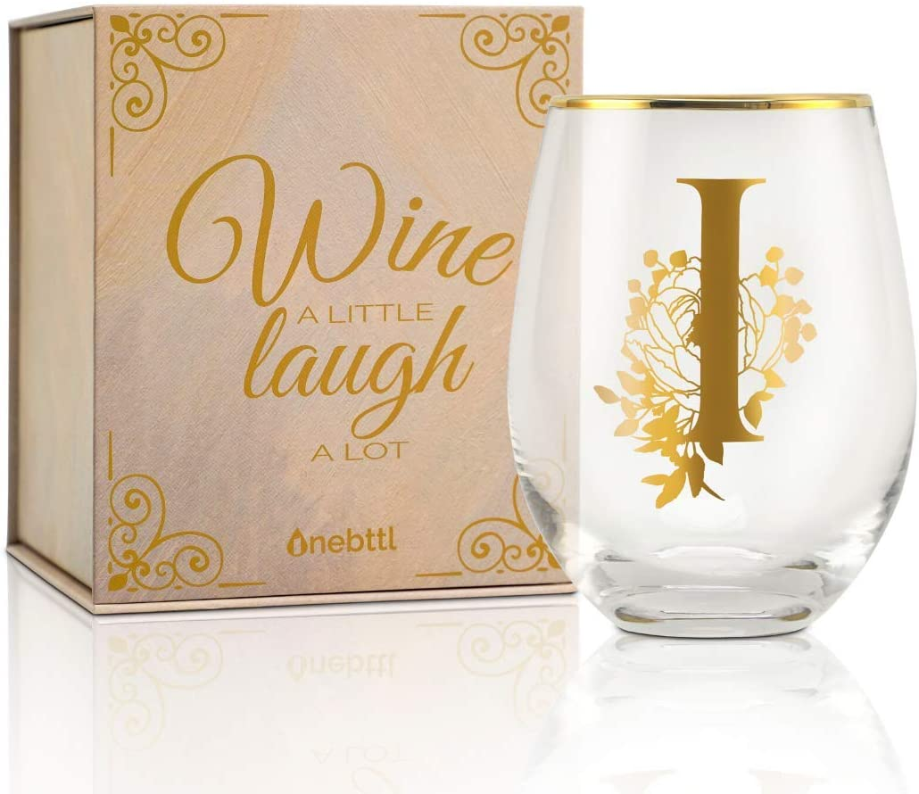 Onebttl Unique Stemless Wine Glasses, Initial Wine Cup for Red or White Wine - 18oz, Monogrammed, Gold - for Women, Girls, Female, Her, Friends, Coworkers, Clients - for Birthday, Christmas