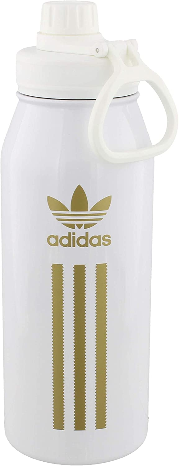 adidas Originals 18/8 Stainless Steel Hot/Cold Insulated Metal Water Bottle,White/ Gold,ONE SIZE