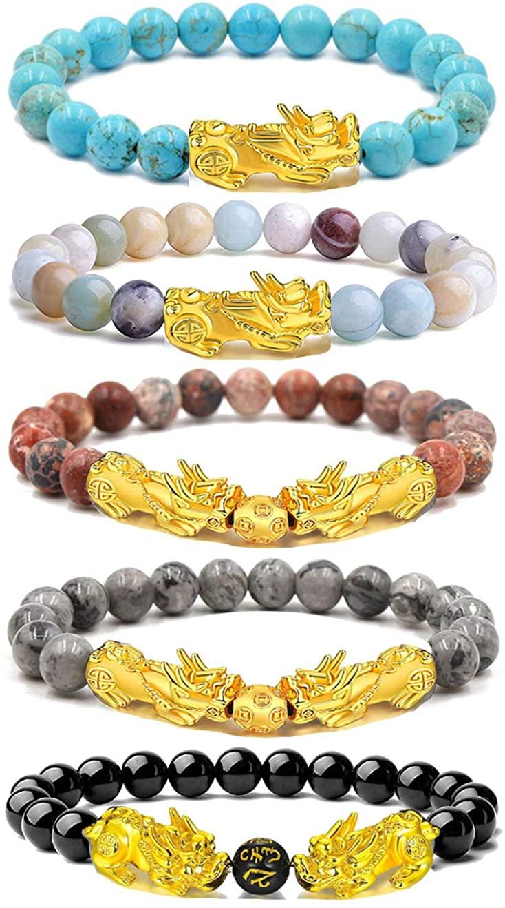 EVELICAL 5Pcs Feng Shui Bracelets for Women Men Beaded Pi Xiu Charm Lucky Fortune Black Obsidian Wealth Bracelet Adjustable Elastic