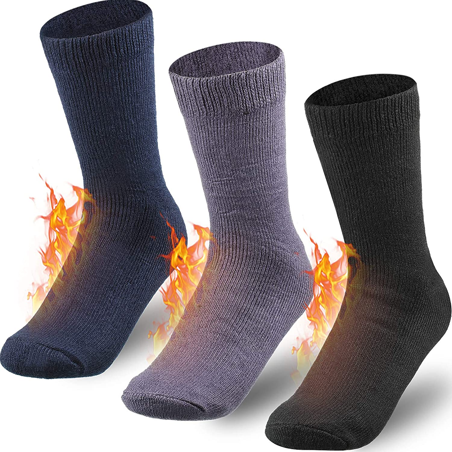 Geyoga 3 Pairs Heated Socks Thermal Socks Warm Thick Socks for Men Women Winter Warm Socks Insulated Cold Soft Fuzzy Crew Winter Boys Socks, 3 Colors