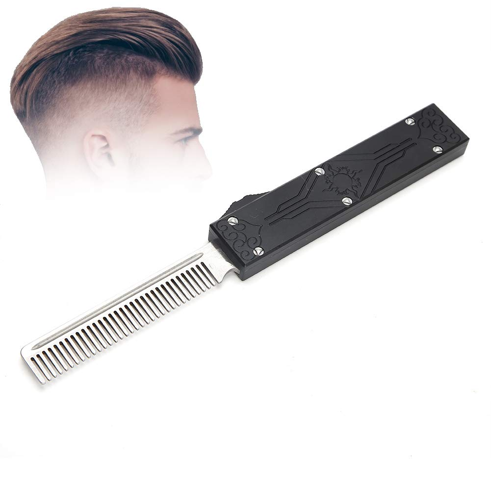 Feather Comb, Stainless Steel Feather Comb Hair Beard Folding Pocket Comb Hairdressing Tool Foldable Metal Retro Combs for Men Black