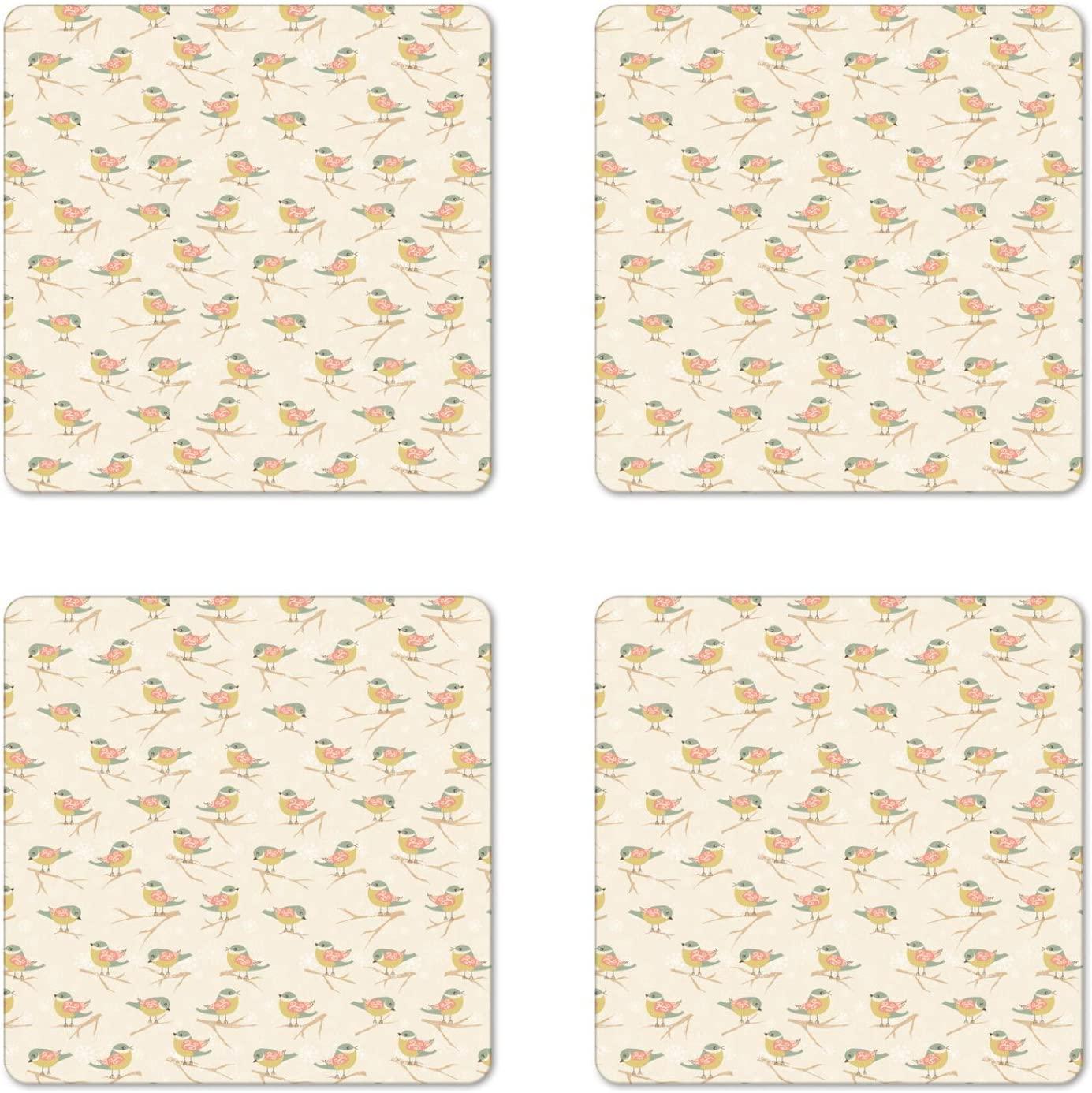 Lunarable Birds Coaster Set of 4, Rhythmic Fly Animals Snowflakes Curlicue Motifs Earth Tones Print, Square Hardboard Gloss Coasters, Standard Size, Eggshell Reseda Green