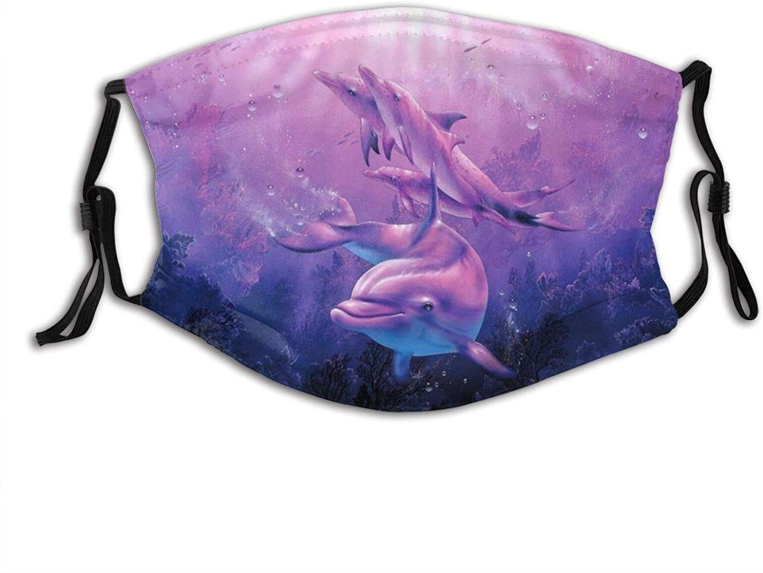 Sea Life Whales Dolphins Seamless - Face Mask Scarf, Reusable & Washable Bandanas With 2 Filters, For Outdoor Activities