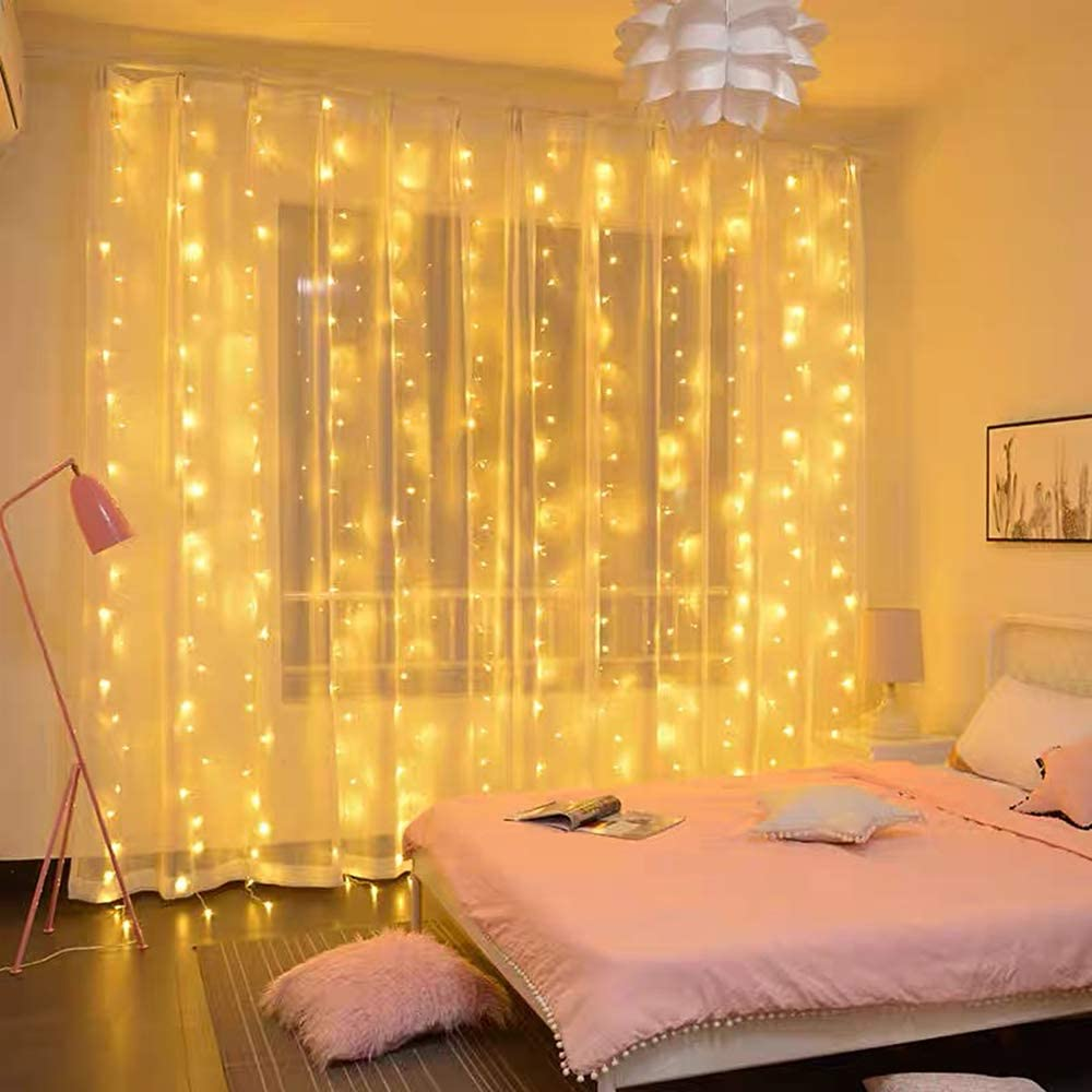 Twinkle Lights Star 300 LED Window Curtain String Light Wedding Party Home Garden Bedroom Backdrop Outdoor Indoor Wall Super Cute Decoration with 29V Safety Voltage Transformer (Warm White)