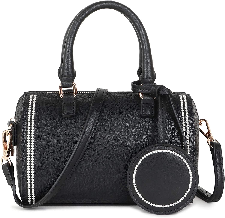 Women Satchel Crossbody Handbags Round Circle Circular Bags PU Leather Handbag Top Handle Purse Shoulder Bag